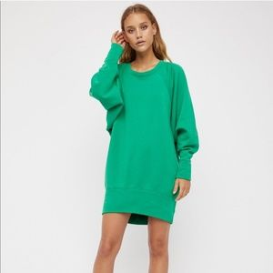 Free People Cozy Town Pullover Dress in Green